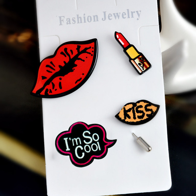 4pcs/set I'm so cool Lipstick Sexy Red Lips KISS Metal Brooch Pins Collar Button Pin Badge Gift Jewelry
