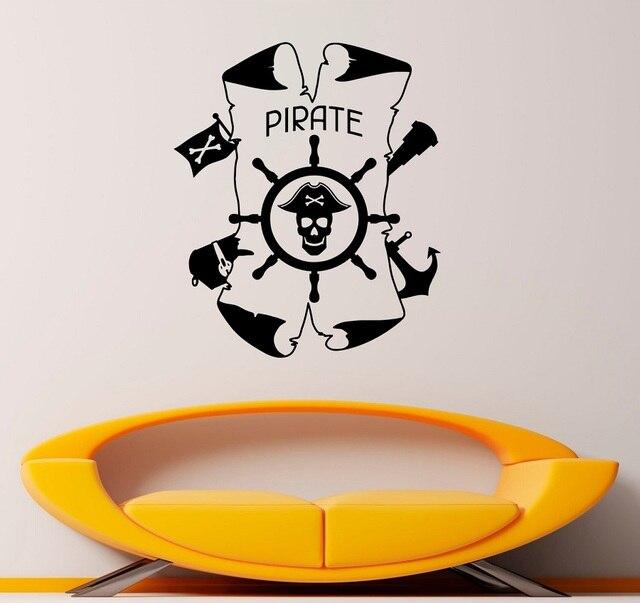 Ancla náutica y el timón de vinilo etiqueta de la pared de entusiastas de la náutica baño interior baño decoración del hogar arte de la pared de 1HH13
