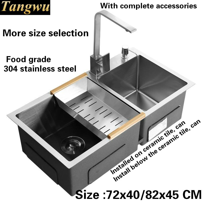 Free shipping Kitchen sink 4 mm thick food grade 304 stainless steel ordinary large single slot durable hot sell 72x40/82x45 CM free shipping food grade 304 stainless steel hot sell kitchen sink double trough 0 8 mm thick ordinary 78x43 cm