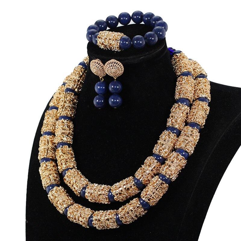 Splendid Navy Blue Nigerian Beaded Women Costume Jewelry Sets Dubai Gold Chunky Statement Necklace Set 2019 Splendid Navy Blue Nigerian Beaded Women Costume Jewelry Sets Dubai Gold Chunky Statement Necklace Set 2019 WE240