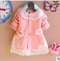 2017 New Spring Autumn baby clothes o-neck full sleeve cotton  lace baby girl cardigan t shirt  A150