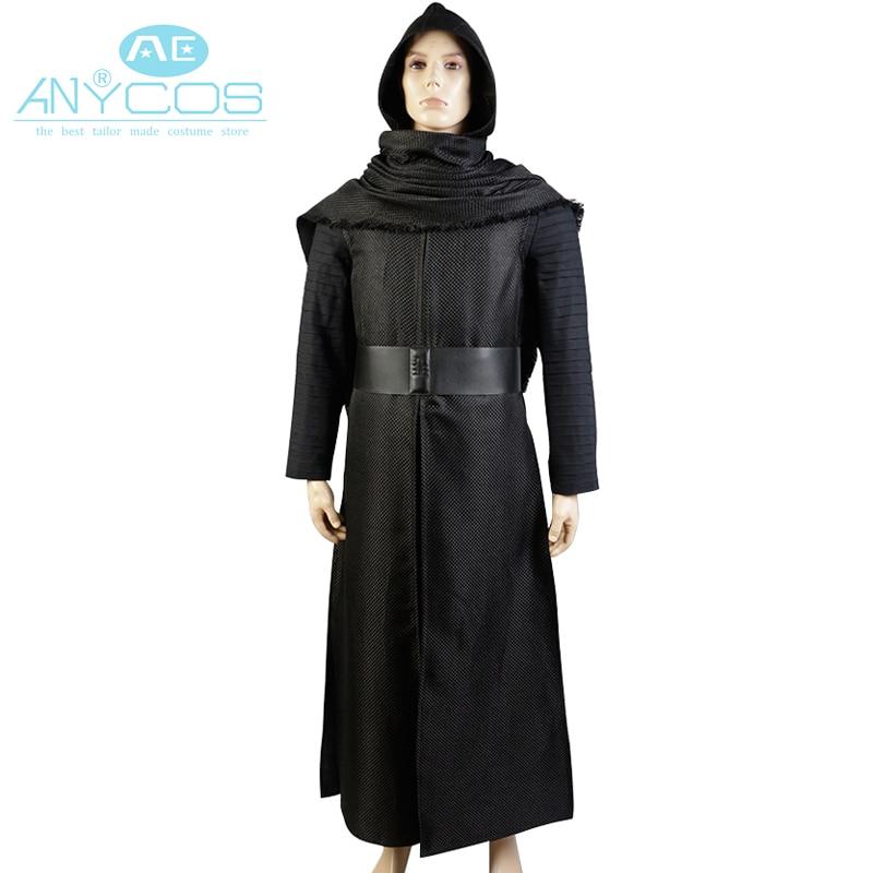 Star Wars 7:Kylo Ren Uniform Black Cloak Coat Shirt Pants New Movie Halloween Cosplay Costume For Men Custom Made New Arrival