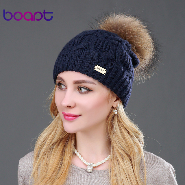 BOAPT Дважды палубе шерсть шапка женская трикотажная металл реальный натуральный енот мех помпон зимняя шапка женские зимние головные уборы для женщин вязаная шапки меховые шапочки вязаная девочки зима помпоны шляпы
