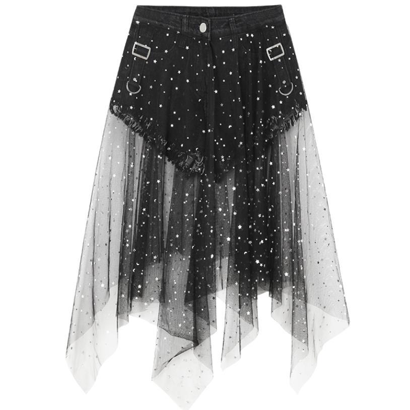 Star Mesh Stitching Jeans Women's Shorts High Waist Black Sexy Charming Hot Pants