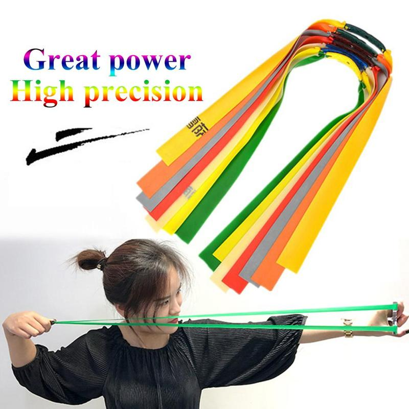 10Pcs Thickness 0.65mm-1.0mm Outdoor Slingshot Powerful Elastic Flat Rubber Band Hunting Sports Catapult Rubber Tubing