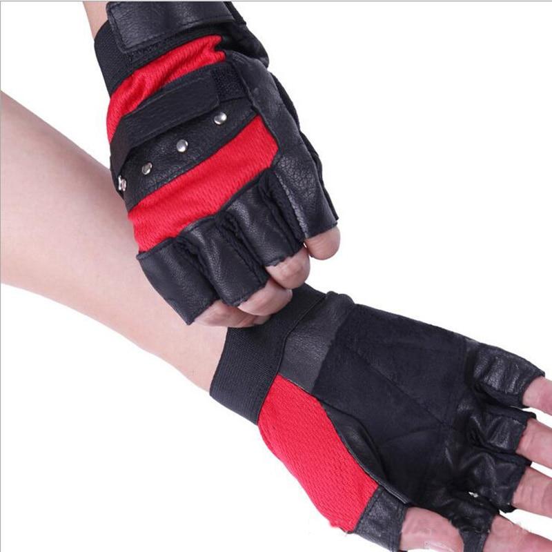 Men s Leather Warm Half Finger Outdoor Sports Cycling Rudder Net Sheepskin Gloves Dumbbell Weight Lifting Gym Gloves G115