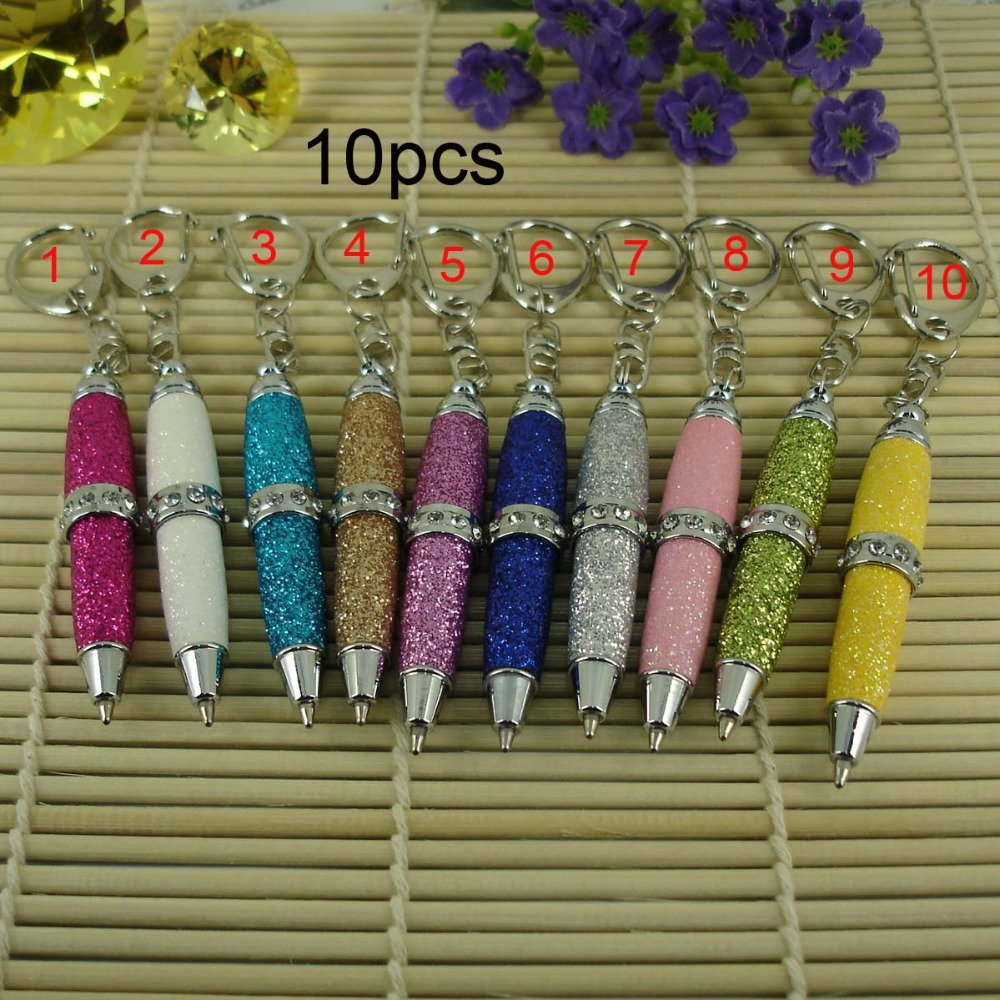 10pcs lot Original Design Fancy Glitter PU leather Ball Pen with Keyring Stationery Retail Shop Pen for Writing Mini Cute Pens in Banner Pens from Office School Supplies