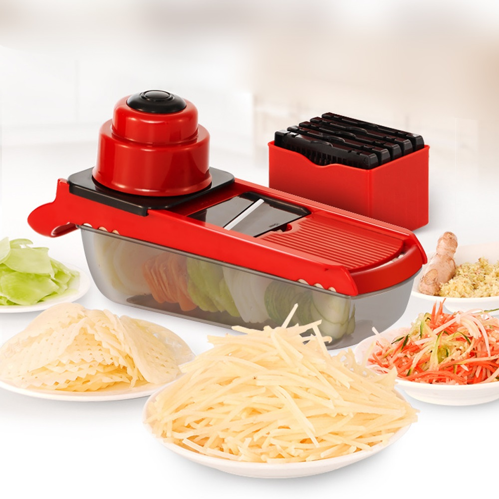 Multifunctional Potato Slicer Vegetable Fruit Cutter Storage Container Food Cutter Shredding Machine multifunctional vegetable julienne shape cutter electric home potatoes fruit round mandoline slicer vegetable cutter machine
