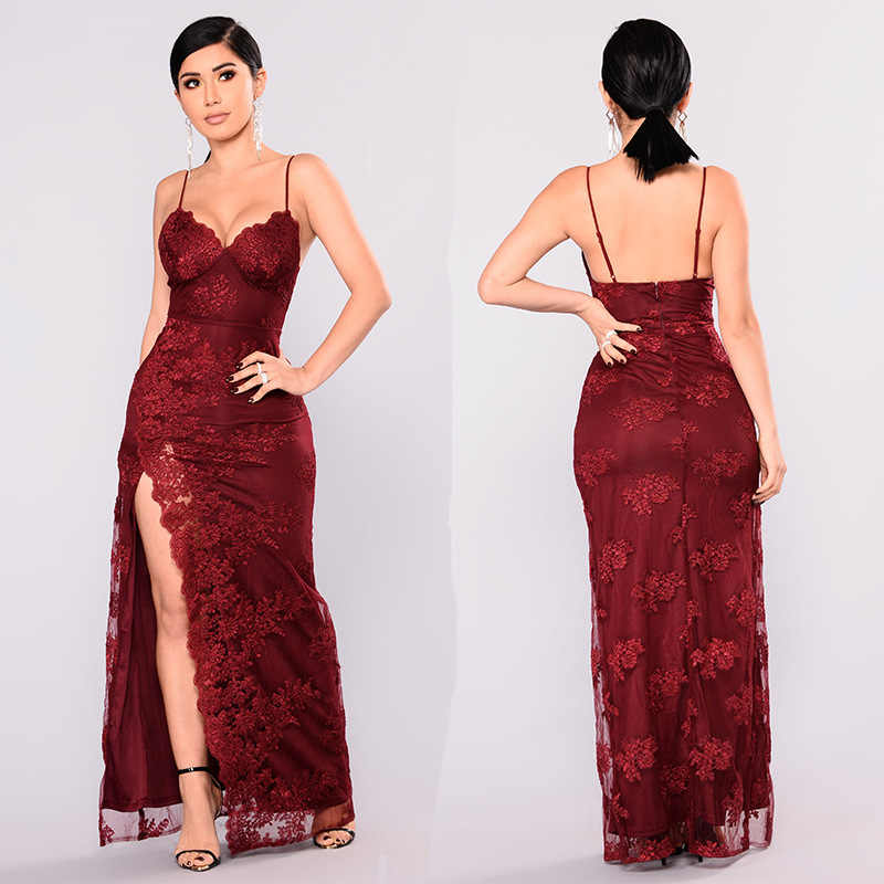 8c772aa919c83 Joyfunear Fancy And Expensive Floral Embroidery Formal Dress Sexy Spaghetti  Strap Side Split Maxi Dress Women Summer Club Wear
