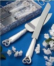 New Fashion Hollow double Heart Cake Knife decor Wedding Cake Knife + shovel + gift box wedding cake knife  Decoration Supplies