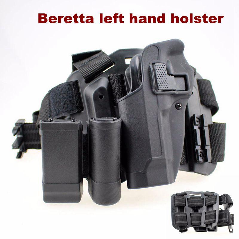 Arma de Mão Airsoftsports Tático Carry Acessórios Case Pistola Rápida Gota Arma Perna Coldre Beretta 92 96 m9 Mão Esquerda Gun