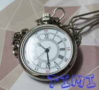 2011 Small Antique Hollow Round Quartz Pocket Watch Necklace Chain Silver Case Freeship