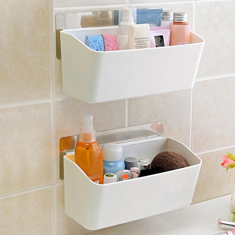 Adsorption Type Kitchen Bathroom Multi Purpose Storage Holder Free Standing  Storage Shelf Rack Makeup Sundries Organizer