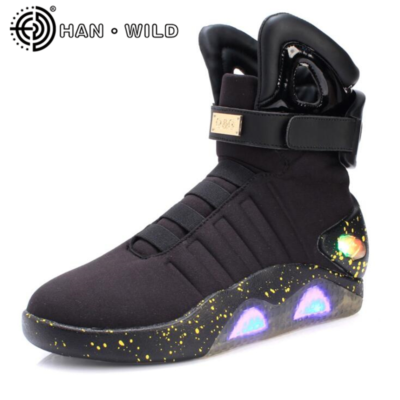 Men's Boots Future Warrior LED Luminous Boots Light Up Shoes Men Ankle Boots Adults USB Charging Color Glowing Lighted Shoes haggard h dawn
