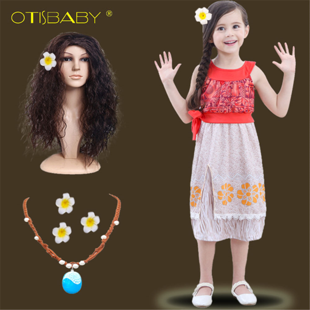 2018 Summer Moana Dress for Girls Moana Vaiana Princess Dresses Kids Party Cosplay Costumes with Wig Children Clothing Clothes girls fairy tale princess synthetic wavy wig children elsa belle rapunzel moana aurora anna mermaid party braid cosplay hair wig