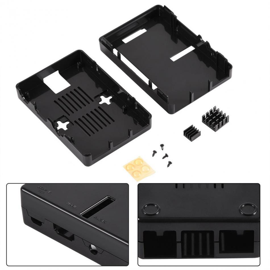 ABS Enclosure Protective Case Shell Cover + 2Pcs Heat Sink for RPi 3 B / 2B / 2 B+ cooling fin for RPi 3B Heat Sinks 2017