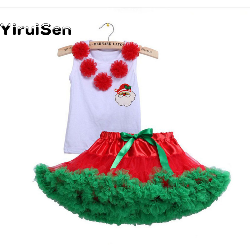 Baby Girl Children Christmas Clothing Set Tutu Skirt + Cotton Tshirt Stitched Santa Claus Xmas New Year Clothes Suit Sale retail kids christmas clothing set santa claus costume for baby xmas party clothes romper hat 2 pcs sets baby wear ds19