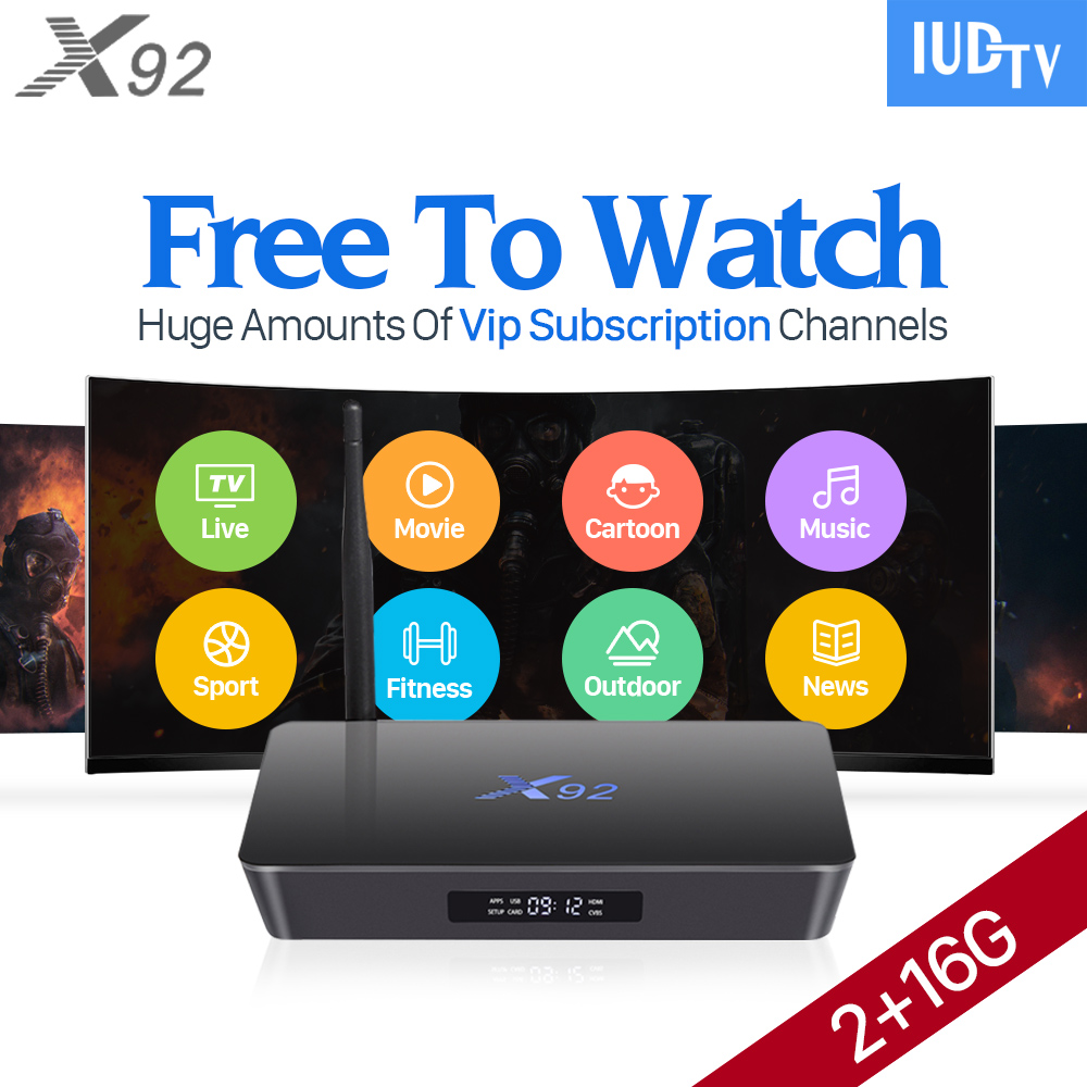 X92 Android IPTV Box S912 Octa Core 2G 16G HD Media Player Europe Arabic French UK Italy Spain IPTV Subscription Set Top Box