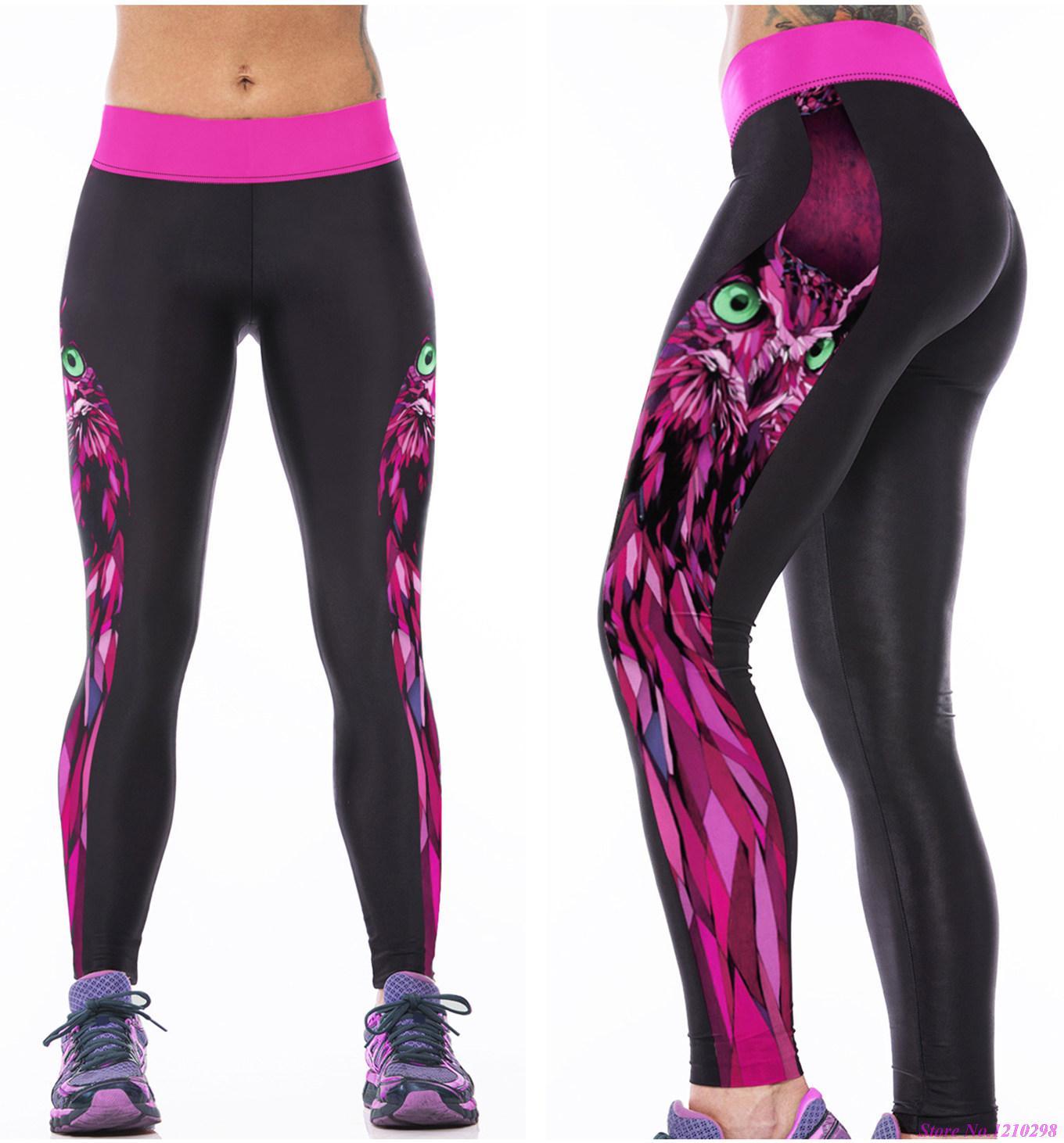 Womens Yoga Pants Purple Plaid Elastic Workout Running Leggings Pants