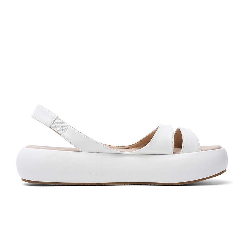 WETKISS אופנה מזדמן שטוח סנדלי נשים קיץ סנדלי פלטפורמת נעלי נשי Pu עקב פתוח ילדה נעלי גבירותיי 2019 חדש צהוב