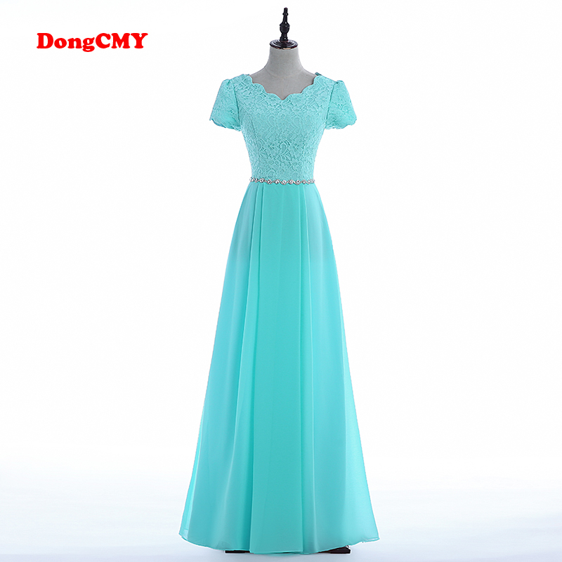 DongCMY New Arrival Evening Dress Wine Red Formal Long Plus Size Vestidos Neckline Robe De Soiree Short-Sleeves Dubai Strass 1