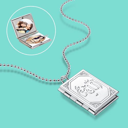 lady 925 sterling silver necklace,special Photo box pendant,Support custom photo,Women fashion silver jewelry,more size chain