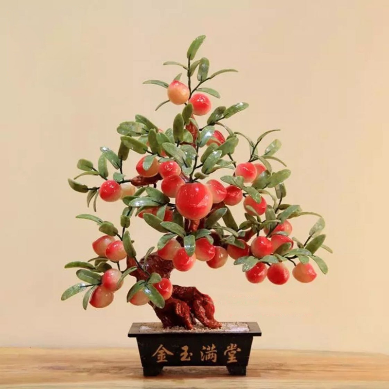 Natural jade Topaz 38 large peach tree living room Home Furnishing jewelry jade crafts creative landscape decoration plate yu shua ma zongyushua s hand on disc horsehair brushes jade peach wenwan clean plate keeps bodhi