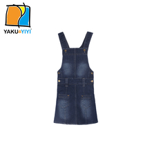 YKYY YAKUYIYI Solid Blue Denim Girls Dress Bottoms Pockets A-line Kids Overalls Baby Suspender Dress Children Clothing