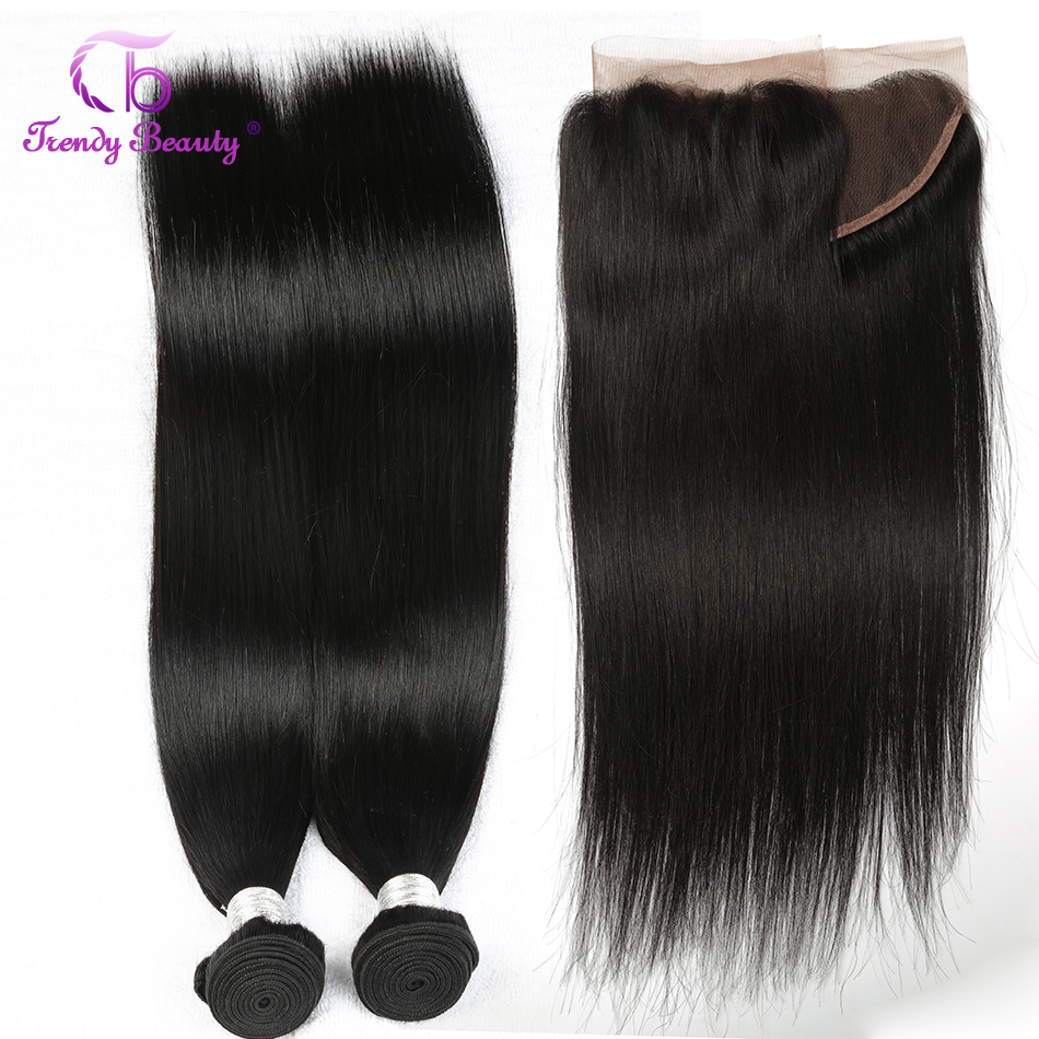 Trendy Beauty Brazilian Straight Hair 2bundles with Lace frontal Closure 13x4 inches Ear To Ear Non