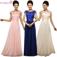 Royal Blue Plus Size Lace And Chiffon Bridesmaid Pink Dress For Formal Brides Maids Dresses For