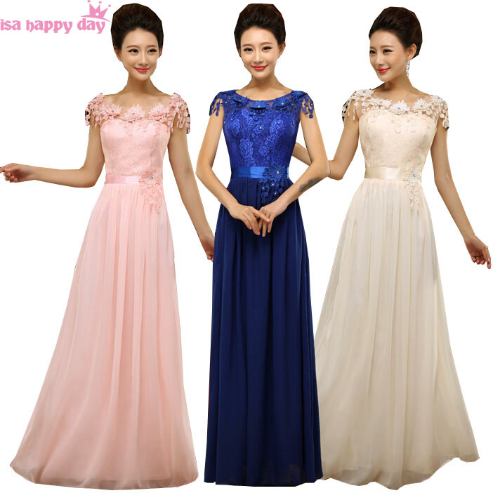 Royal Blue Plus Size Lace And Chiffon Bridesmaid Pink Dress For