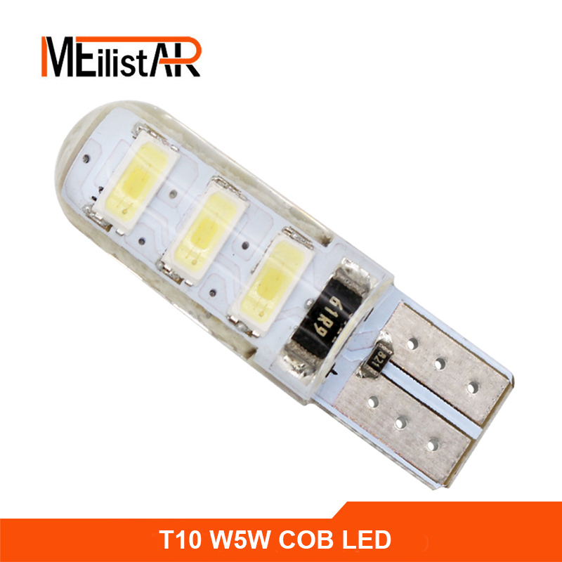 Car LED 1PCS T10 194 W5W DC 12V Canbus 6SMD 5050 Silicone shell LED Lights Bulb No Error Led Parking Fog light Auto Car styling wholesale 10pcs lot canbus t10 5smd 5050 led canbus light w5w led canbus 194 t10 5led smd error free white light car styling