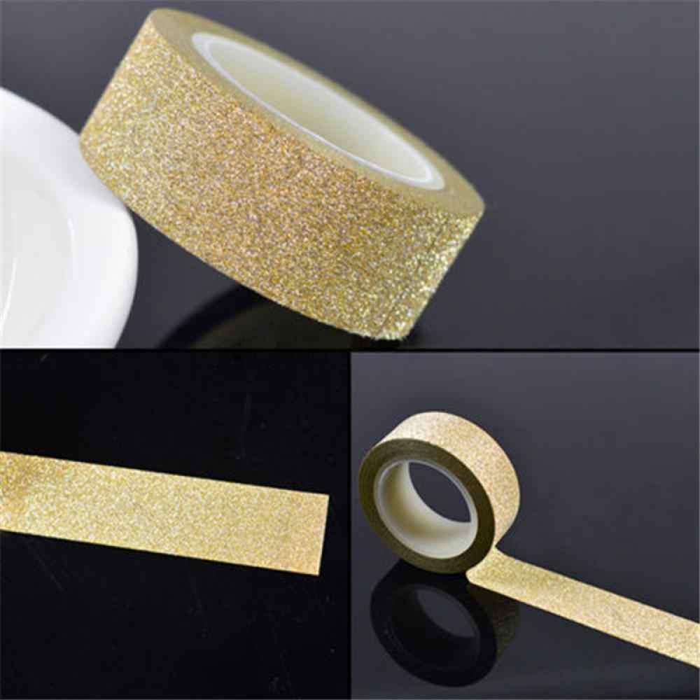 Klej srebrny złoty brokat Washi taśma Scrapbooking boże narodzenie Party ślubny wystrój domu Kawaii śliczne papier dekoracyjny rzemiosło