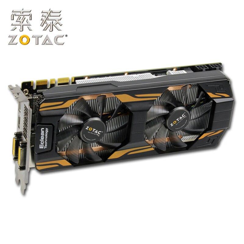 Cartes graphiques d'origine ZOTAC GeForce GTX 760-2GD5 pour carte vidéo NVIDIA GTX760 2GD5 HA 2G GT700 256bit HDMI DVI utilisé GTX-760