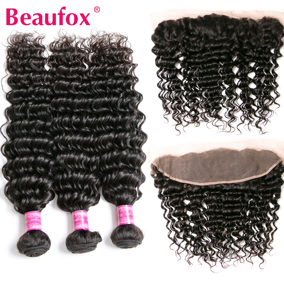 Beaufox Brazilian Deep Wave Bundles With Frontal Closure Remy Human Hair 3 Bundles With Lace Frontal Closure With Bundles