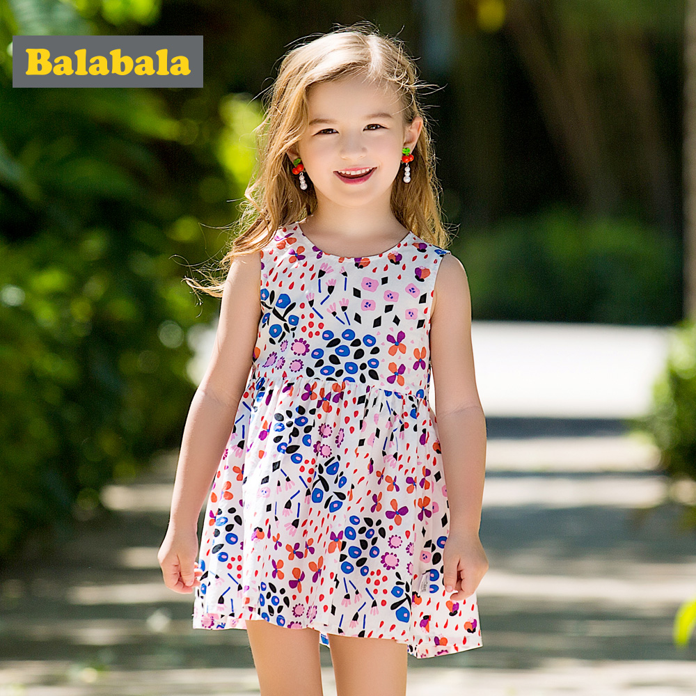 Balabala girls princess Floral dress cute cotton Sleeveless dresses girl children clothing costume girl party dress for summer