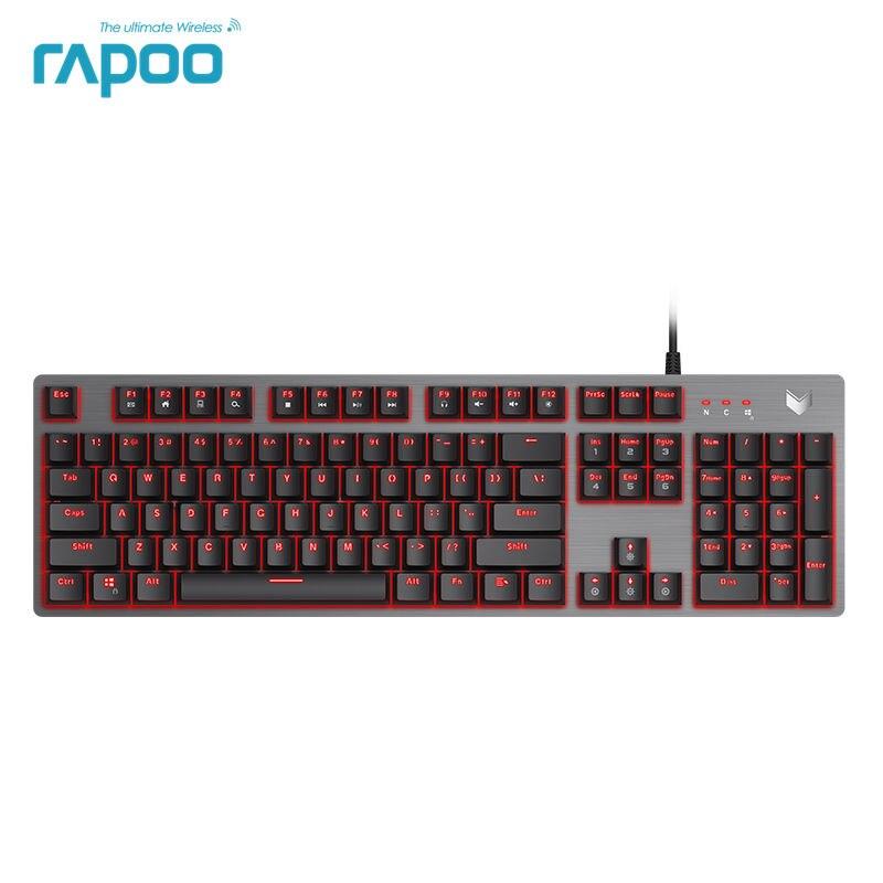 Новейшая водостойкая клавиатура Rapoo V530L 104 ключей портативная механическая клавиатура с высоким профилем с подсветкой Проводная игровая кл...