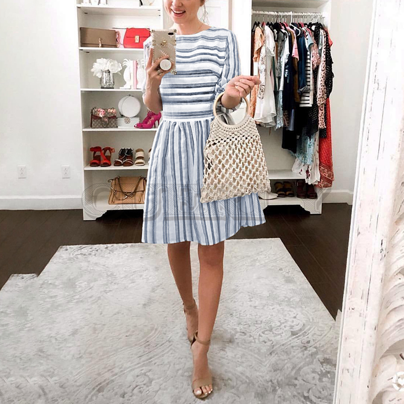 CUERLY 2019 Stripe Long Sleeve Summer Female Dress Women Elegant OL Short Feminino Mini Beach