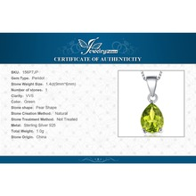 Natural Green Peridot 1.4 ct Birthstone Pendant in 925 Sterling Silver