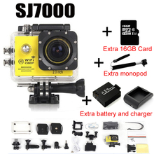 Действие Камера Wi-Fi 2.0 LED 4X зум Мини Cam рекордер Go Морской Дайвинг 1080 P HD DV про стиль + монопод + карты памяти + сумка