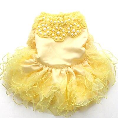Pet dog Wedding dress Cat Puppy Princess Skirt clothes Pearls&Fungus Lace design 5 size 3 colours