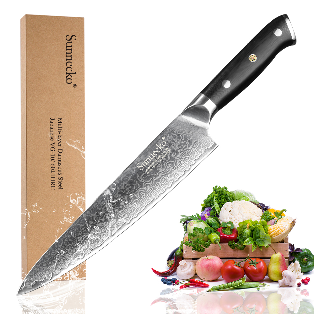 Premium SUNNECKO 8 inch Chef s Kitchen Knife Japanese VG10 Steel Core Blade G10 Handle with