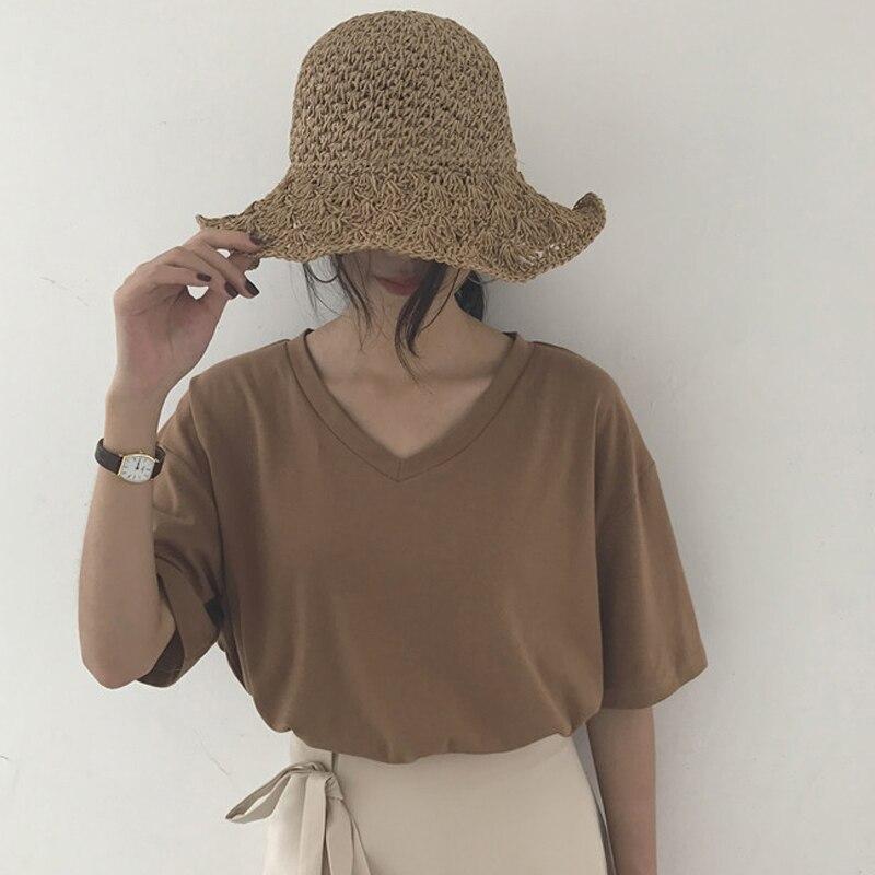 summer Simple Tee Shirt Solid Basic T-shirt Women Casual V-neck Harajuku Summer soft Tops Korean Hipster White T Shirt Dropship