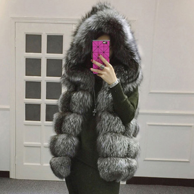 2015 зимняя куртка чернобурки шуба с капюшоном жилет полоса средней длины - жилет большой размер женщин