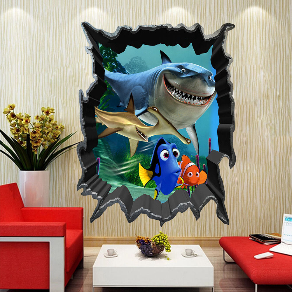 Cartoon Finding Nemo Wall Stickers Sea Fish 3D View Decals Kids Room  Cartoon Mural Home Decor In Wall Stickers From Home U0026 Garden On  Aliexpress.com ...