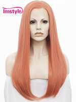 Imstyle Straight Rose golden 24 Inches drag queen Synthetic fake hair long lace front wigs for black women
