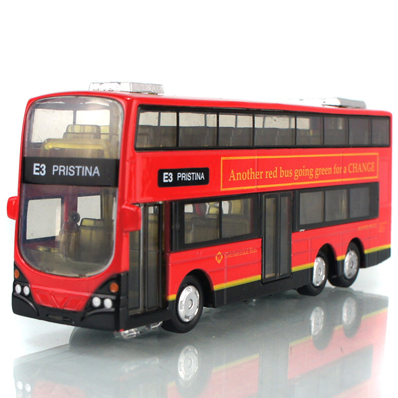 132 kids toys double decker bus cool metal toy vehicle cars model for children music pull back cars miniatures gifts for boys