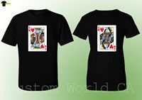 2019 Hot Sale 100% cotton Couple T Shirt King and Queen Love Matching Shirts Couple Tee Poker Cards Tee shirt