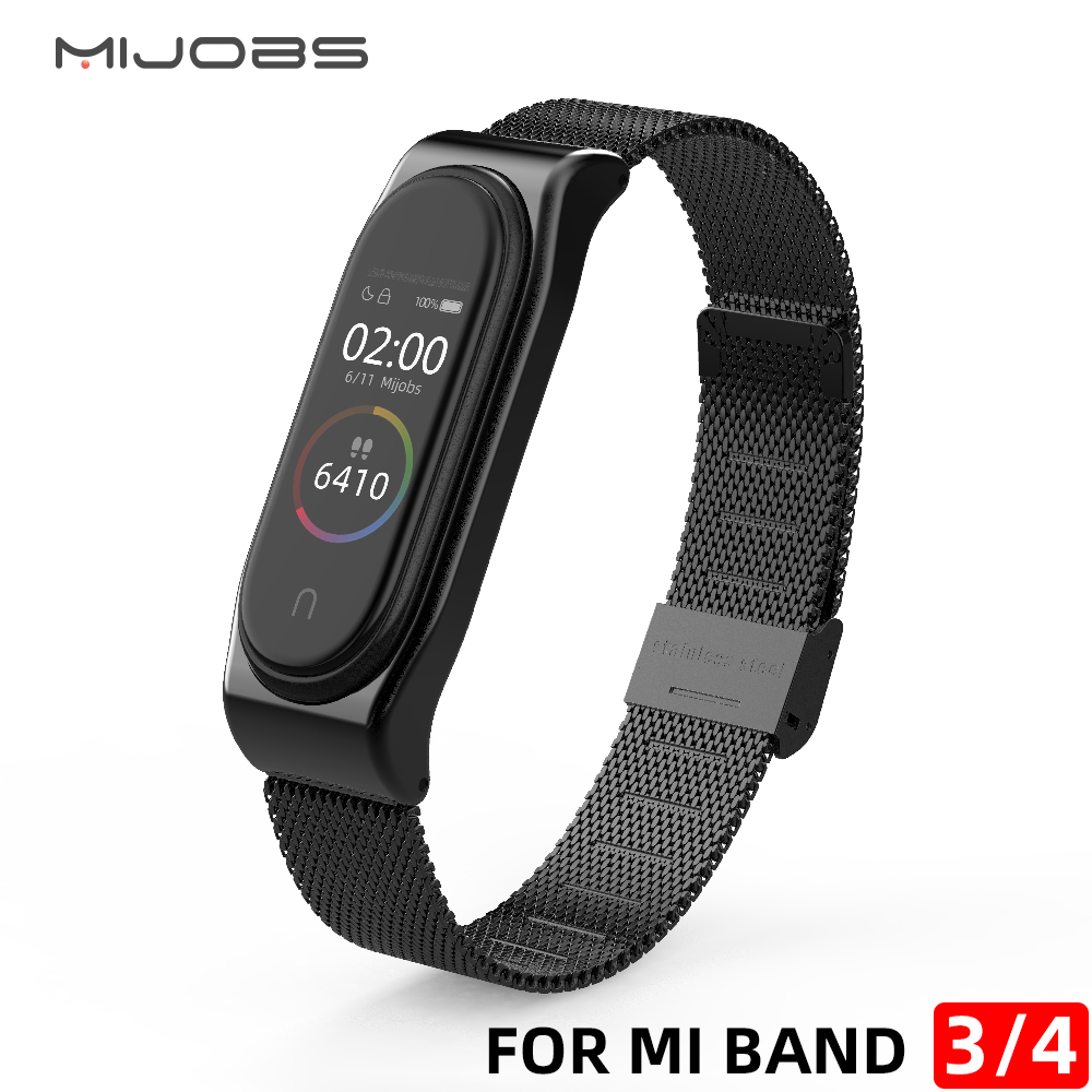 Mi Band 4 Strap Metal Milanese Stainless Steel For Xiaomi Mi Band 4 NFC Strap Compatible Bracelet Wrist Pulseira Miband3 Correa