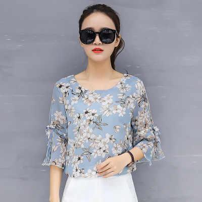 3xl Плюс Размер Топы шифоновые рубашки женские летние блузки с коротким рукавом